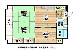 福岡県北九州市小倉北区緑ケ丘3丁目の賃貸マンションの間取り