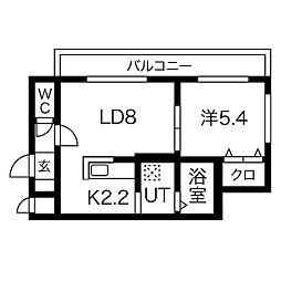 リバーサイド札幌西 3階1LDKの間取り