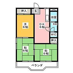 篭屋マンション[2階]の間取り