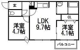北海道札幌市中央区北四条西22丁目の賃貸マンションの間取り