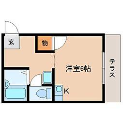 JR桜井線 櫟本駅 徒歩8分の賃貸アパート 1階ワンルームの間取り