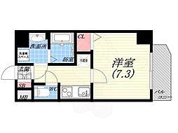 阪神本線 西宮駅 徒歩5分の賃貸マンション 4階1Kの間取り