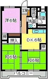 福岡県福岡市南区横手3丁目の賃貸マンションの間取り