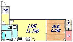 モダニズムイースト 3階1LDKの間取り