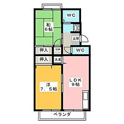 トゥインクルコート文化町10番館[2階]の間取り