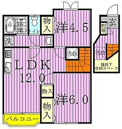 千葉県野田市柳沢の賃貸アパートの間取り