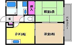兵庫県神戸市東灘区深江北町2丁目の賃貸アパートの間取り