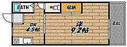 大阪府大阪市東淀川区豊新2丁目の賃貸マンションの間取り