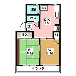 コーポシャルム連坊[2階]の間取り