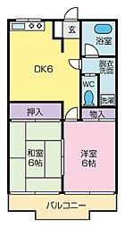松栄マンションB[302号室]の間取り
