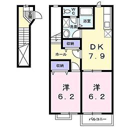 サンフローラB[2階]の間取り