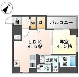 西鉄天神大牟田線 西鉄平尾駅 徒歩4分の賃貸マンション 4階1LDKの間取り