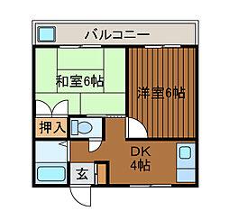 プリンスコーポ・ナカジマ[302号室]の間取り
