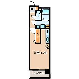 中ノ坂レジデンス 8階ワンルームの間取り