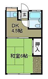 駒荘A棟[2階]の間取り