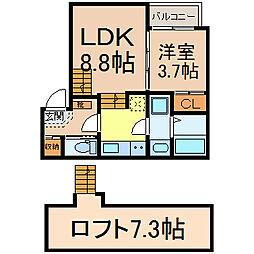 ディアマンテ 2階1LDKの間取り