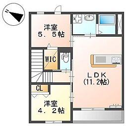 JR相模線 橋本駅 バス19分 向原南下車 徒歩7分の賃貸アパート 2階2LDKの間取り
