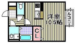 シェルズレイク日根野C[102号室]の間取り