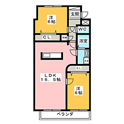 三重県伊賀市平野蔵垣内の賃貸マンションの間取り