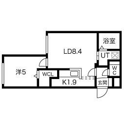 札幌市営南北線 幌平橋駅 徒歩8分の賃貸マンション 2階1LDKの間取り