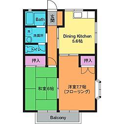 神奈川県厚木市鳶尾4の賃貸アパートの間取り