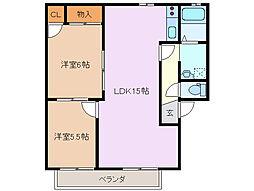 ガーデンハウス芙蓉 B棟[2階]の間取り