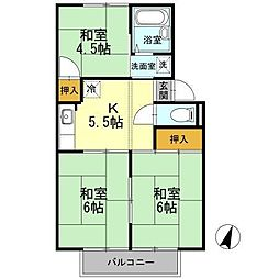 パヒュームタウン B棟[2階]の間取り