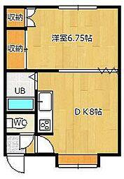 マルシゲハイツ泉1[8号室]の間取り