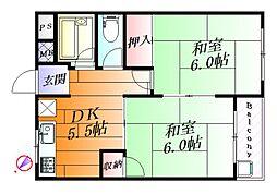 千里七尾マンション[3階]の間取り