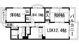 兵庫県宝塚市仁川北3丁目の賃貸マンションの間取り