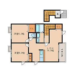 JR関西本線 加茂駅 徒歩5分の賃貸アパート 2階2LDKの間取り