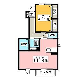 愛知県豊橋市多米東町2丁目の賃貸アパートの間取り