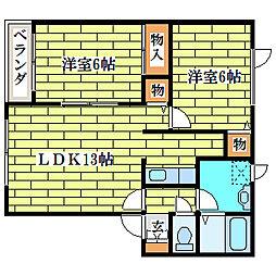 ベルメゾン清田[2階]の間取り