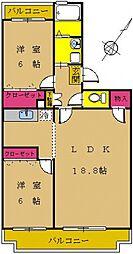東京都町田市西成瀬2丁目の賃貸マンションの間取り