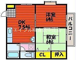 岡山県倉敷市藤戸町天城の賃貸アパートの間取り
