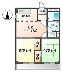 愛知県名古屋市緑区若田1丁目の賃貸アパートの間取り