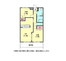 愛知県一宮市今伊勢町本神戸字牛洗の賃貸アパートの間取り