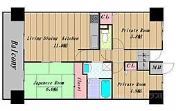 大阪府河内長野市自由ケ丘1丁目の賃貸マンションの間取り