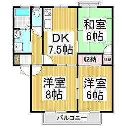 グリーンハイツベル D棟[1階]の間取り