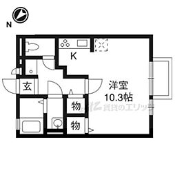 JR湖西線 堅田駅 徒歩16分の賃貸アパート 2階1Kの間取り