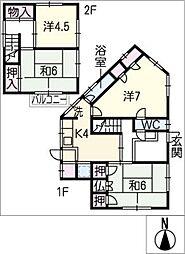 [一戸建] 三重県四日市市ときわ2丁目 の賃貸【/】の間取り