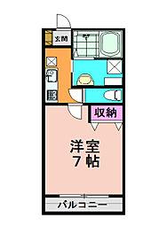 アカラ藤原台 2階1Kの間取り