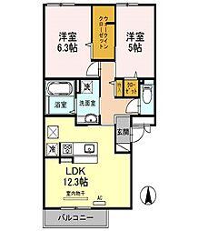 京阪本線 大和田駅 徒歩22分の賃貸アパート 2階2LDKの間取り