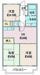 埼玉県鶴ヶ島市富士見2丁目の賃貸マンションの間取り
