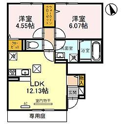 JR姫新線 余部駅 3.2kmの賃貸アパート 1階2LDKの間取り