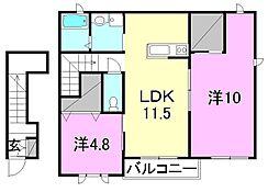 サリーレ・ピーノ南吉田A・B・C・D棟[C202 号室号室]の間取り