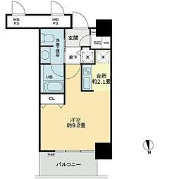 ベルファース大阪新町 7階ワンルームの間取り