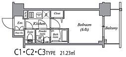 エスリード中之島ザ・コア 4階1Kの間取り
