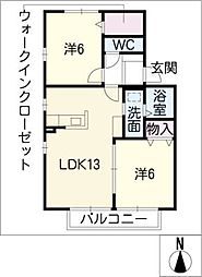 フラワーコートA[2階]の間取り