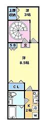 カーサビエント 地下1階2Kの間取り